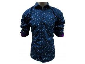 Košile DR tisk birds modrá
