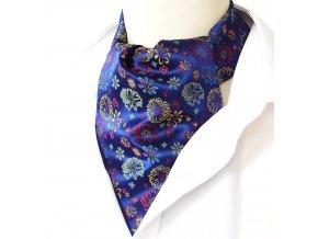 18100389 kravatosala ASKOT polyester kytky MODRA