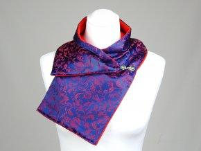 Dámská šála PESh 528 podšitá PES fleece florál modrá/vínová KRB