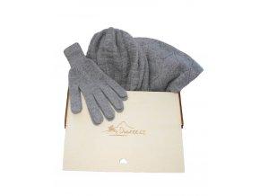 Kašmírový 3 set dámský / čepice, rukavice, velká šála
