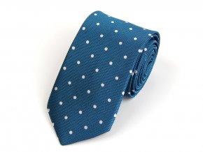 Kravata PESh 7 cm puntík tyrkys