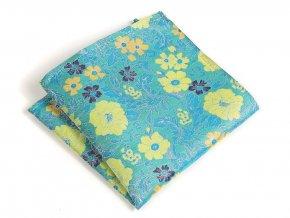 57401255 kapesnicek hedvabi floral tyrkys