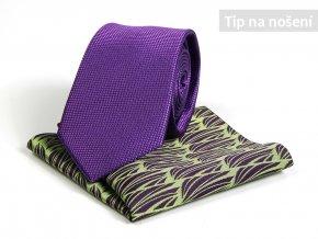 Set Kravata ČH 7 cm fialová +Kapesníček PESh 400 stébla zelená