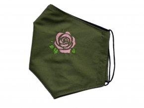 zelená s růžovou kytkou M, L 3