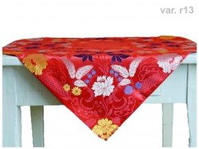 R6460 13 27601366 Ubrus Ondrit 66x66 Motýli červená (1)