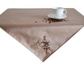 Ubrus Odaska 77x77 výšivka COFFEE kávová (2)