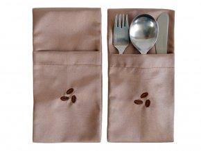 Kapsa na příbory Odaska set 2ks s výšivkou COFFEE ZRNKA kávová (1)