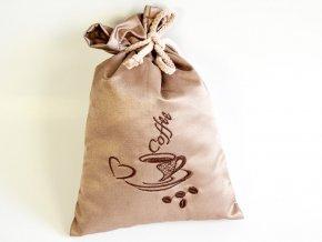 Dárkový pytlík Odaska s výšivkou COFFEE kávová (3)