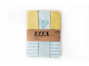 Utěrka česaná egyptská bavlna 50x70 3 ks motýli tyrkys/žlutá
