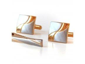 manzetove knoflicky spona 022 stribrne zlate 0