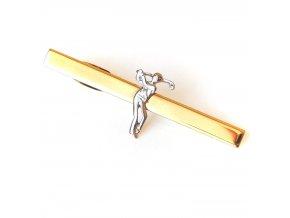 kravatova spona zlata golfista 1