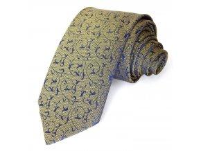 Kravata PESh 7cm žakár modrá/žlutá