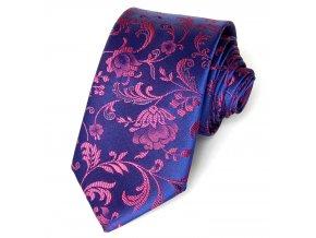 51400679 kravata polyester floralni modra