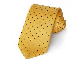 kravata hedvabna puntik zluta