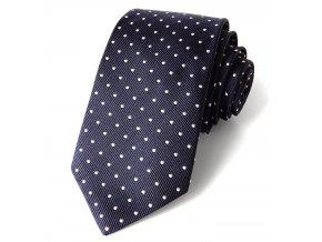 kravata hedvabna modra PUNTIK BILY 745