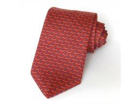 Kravata ČH 8 cm tisk červená - kytičky