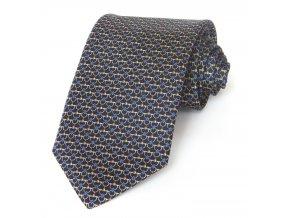 Kravata ČH 8 cm tisk modrá - kytičky