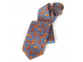 Kravata ČH 8,5 cm tisk modrá turek