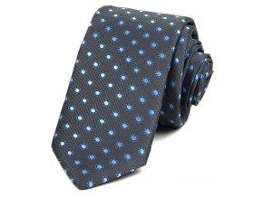 Kravata PESh 7 cm kytička tmavě modrá