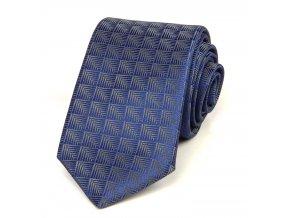51400584 kravata polyester geometrie modra seda