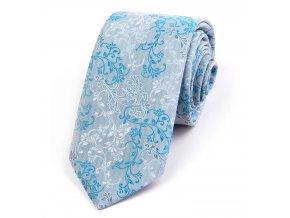 51401386 kravata floral tyrkysova
