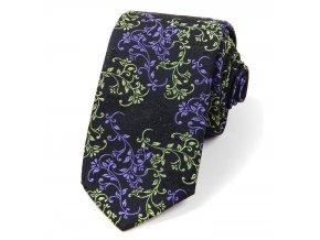 51401403 kravata floral cerna