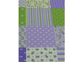 Plátno-tisk, fialová patchwork 100%bavlna, š.140
