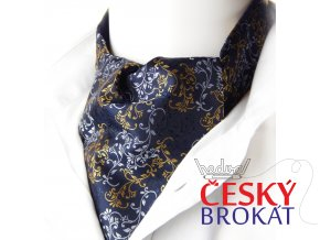 18100655 kravatosala askot floral modra zluta seda
