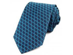 51401476 kravata zakar geometrie modra tyrkys