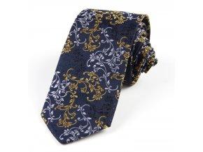 51401523 kravata floral modra zluta seda