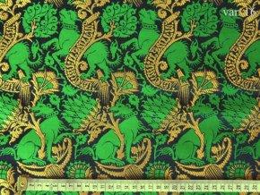 r 6364 16 brokat pes modra zelena zlata