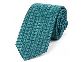 51401726 kravata geometrie kolecko zelena modra
