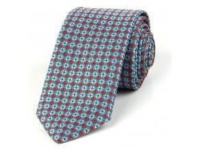 51401733 kravata geometrie tyrkys cervena