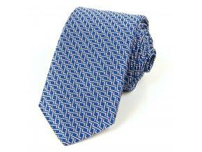 51401730 kravata geometrie modra