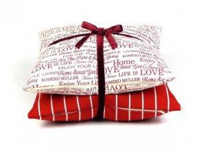 Set polštářů vánoční  PRUH- Love červená