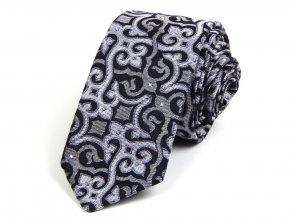 kravata brokat cerna bila