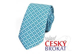 51401954 kravata geometrie tyrkys