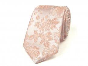 51401620 kravata hedvabi floral ruzova svatebni