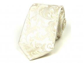 51402069 kravata hedvabi floral smetanova svatebni