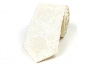 51402071 kravata hedvabi floral smetanova svatebni