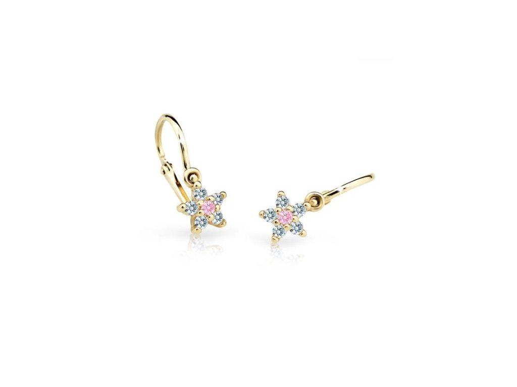 detske nausnicky danfil hvezdicky c2118 ze zluteho zlata s kaminkem pink 15525