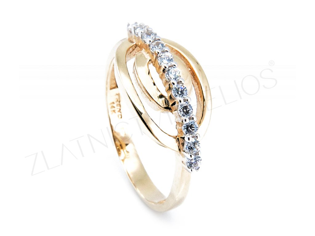 Zlatý prsten zdobený zirkony B15630