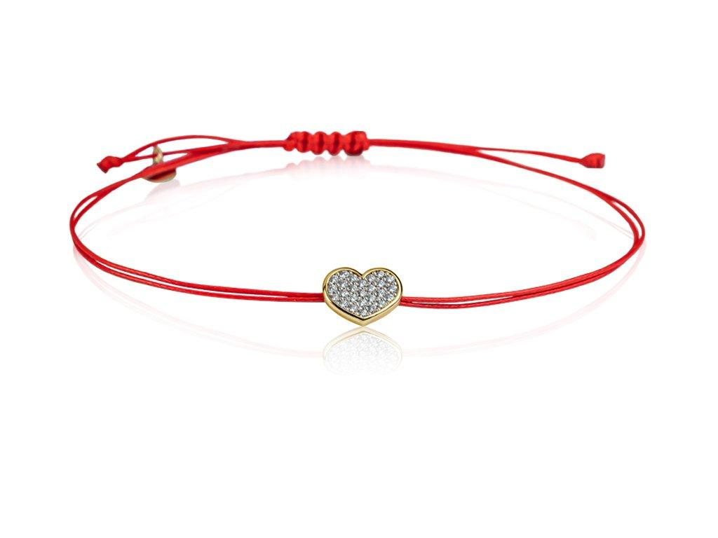 červená šňůrka a srdce