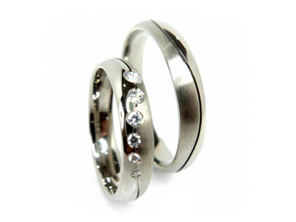 Paládiové snubní prsteny (Kameny Se Zirkony)