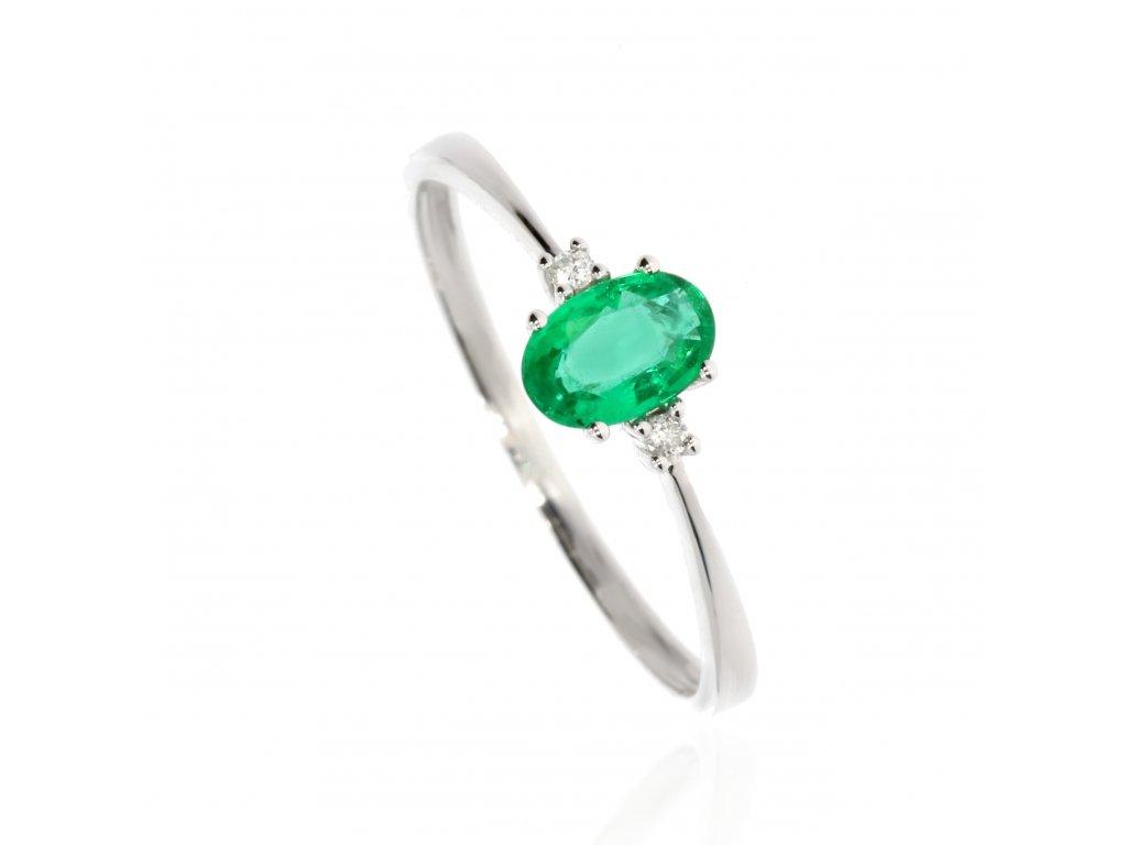 4070 2 zlaty prsten se smaragdem a brilianty