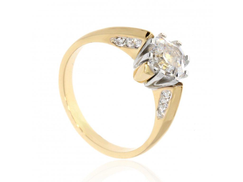 4148 prsten s kombinaci zlata se zirkony