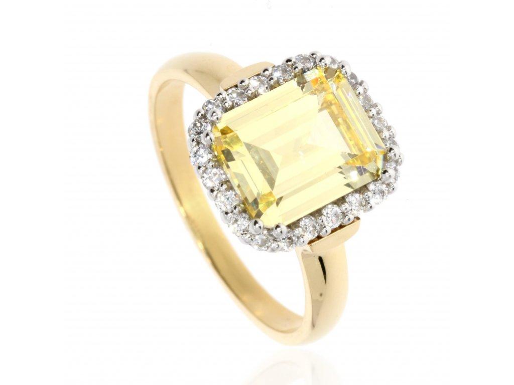 4163 zlaty prsten se zirkony
