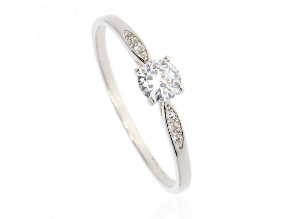 Zlatý prsten posázený čirými zirkony (Velikost 52)