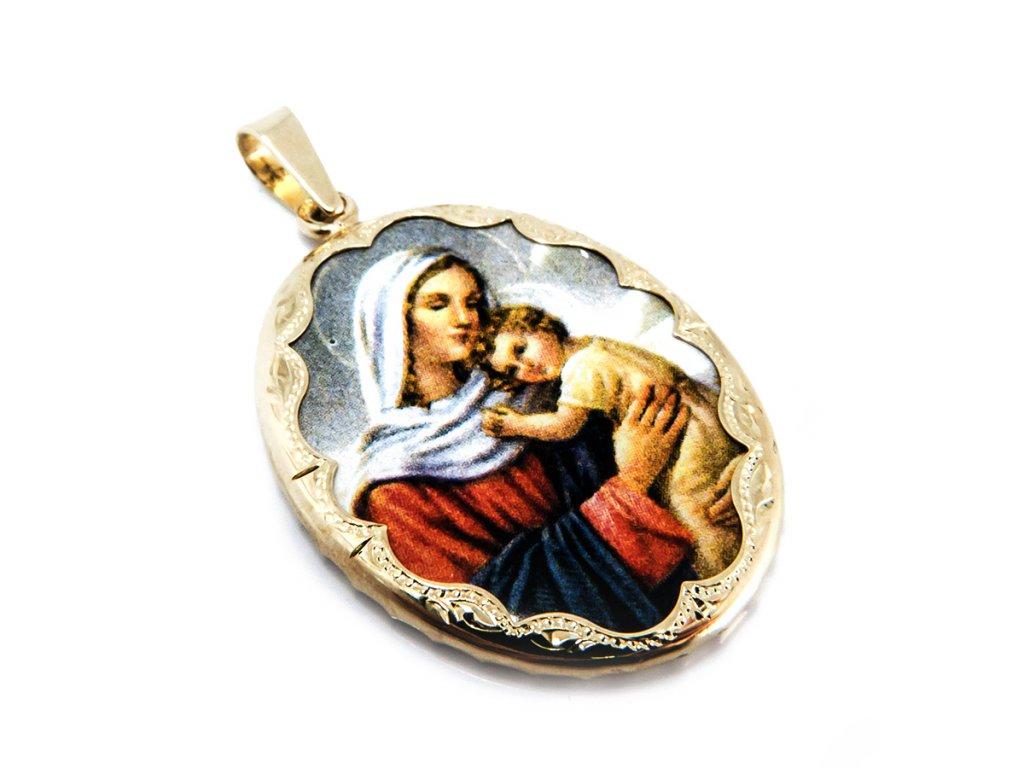 Přívěšek madona s dítětem ze zlata