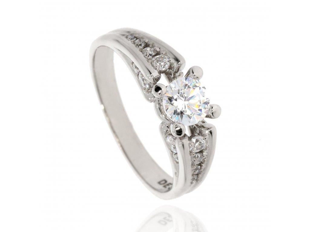 Luxusní zlatý prsten se zirkony (Velikost 53)